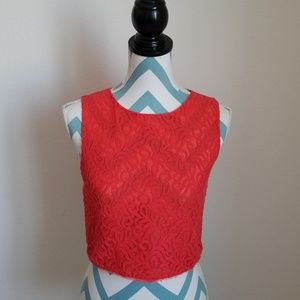 Rachel Roy burnt orange crop lace top